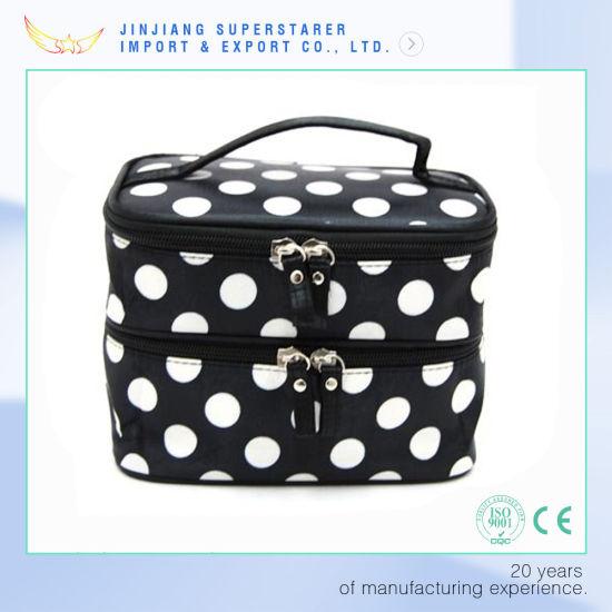 b71f34288321 China Quanzhou Factory Nice White DOT Makeup Cosmetic Bag for Women ...