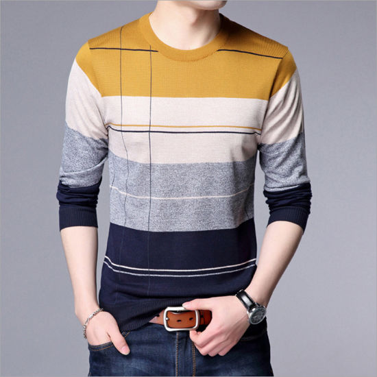 Long Sleeve Striped Base Men Shirts pictures & photos