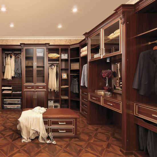Hot Sale Oppein Luxury Solid Wood Brown Closet (YG21115)