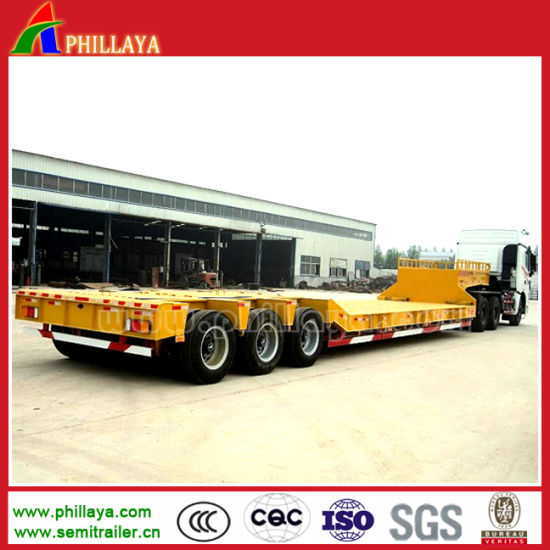 Double Axle Tri-Axles Low Bed Truck Semi Trailer with Gooseneck