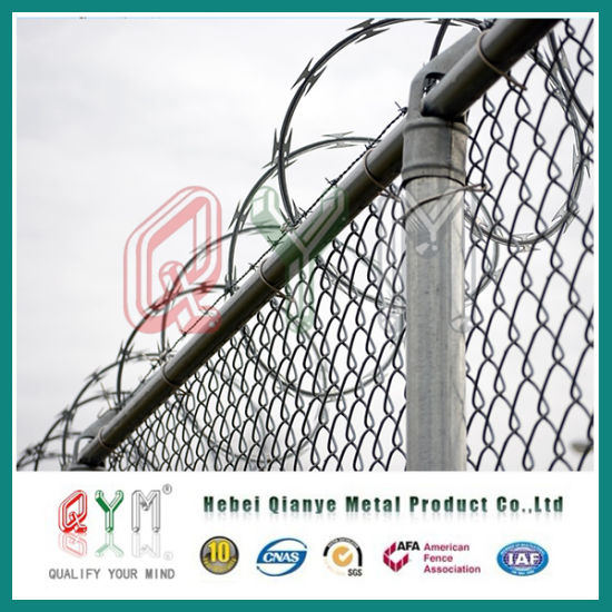 China Concertina Barbed Wire Mesh on Top PVC Coated Airport Fence ...