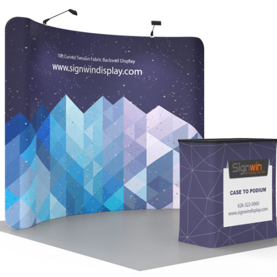 Portable Tension Fabric Display Used Well as Backdrop Stand