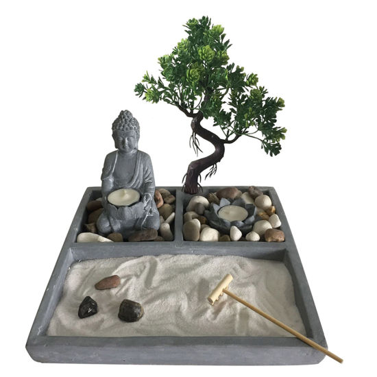 China Supplier High Quality OEM Resin Zen Buddha Fountain with Sand and Tealight Candle Holder
