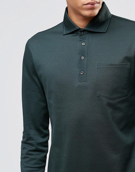Design Mens Long Sleeve Polo Shirts with Pockets pictures & photos