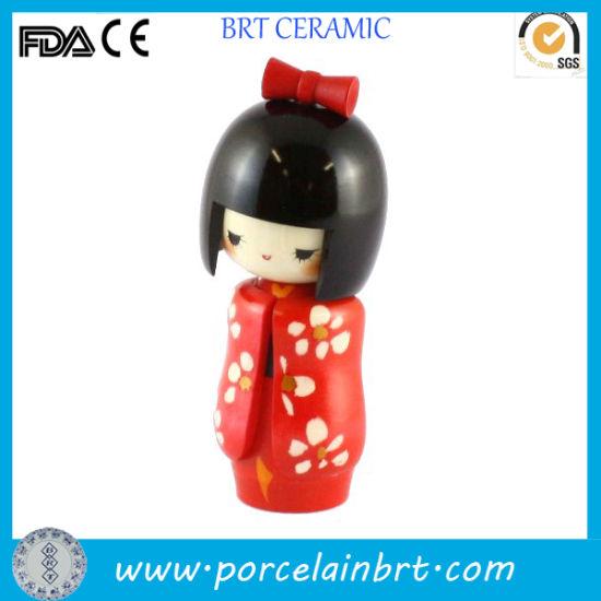 Shyness Red Kimono Flower Ceramic Japanese Girl Doll