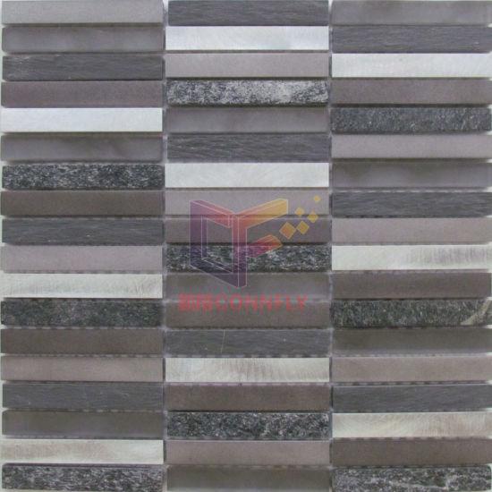 China Strip Aluminium And Slate Quatz Mixed Mosaic Tiles Cfa103