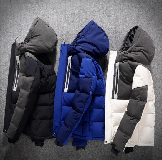 Custom Fashion Winter Coat Men Best Oversized Black/White/Blue/Grey Waterproof/Windproof/Windbreaker Puffer Duck Down Jacket with Hood