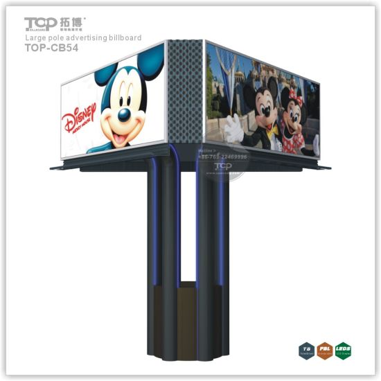 Outdoor Large Pole Trihedral Light Box, Trivision Advertising Billboard