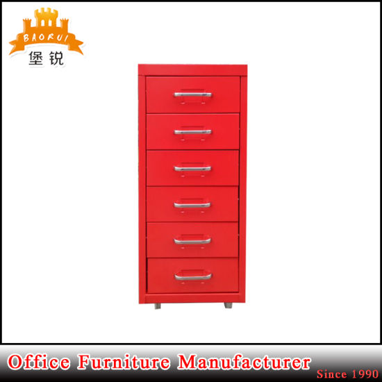 Small Mini Steel Vertical 6 Drawer File Cabinet