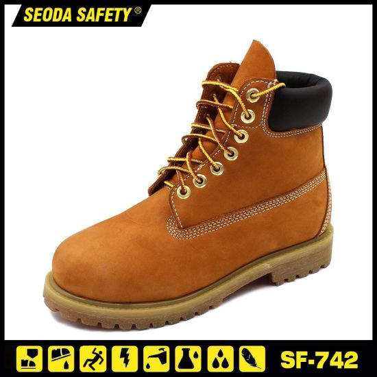Nubuck Leather Goodyear Welt Safety Work Boots Sf-742