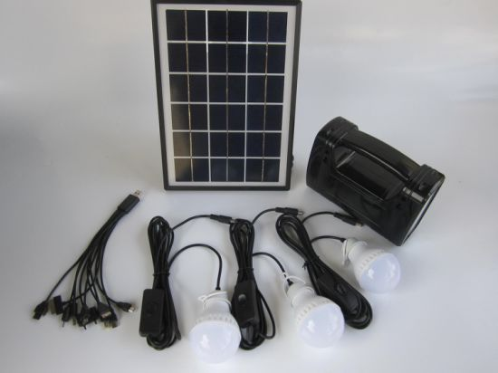 5W Portable Solar Panel Kit System 3W LED Light Bulbs USB Sales