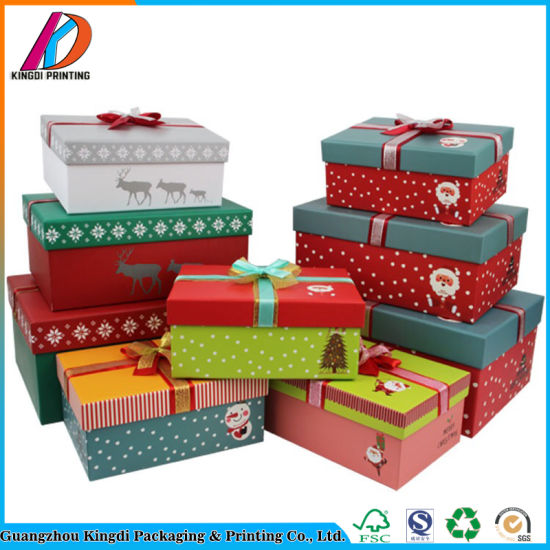 paperboard decorative christmas gift box with bow - Decorative Christmas Gift Boxes