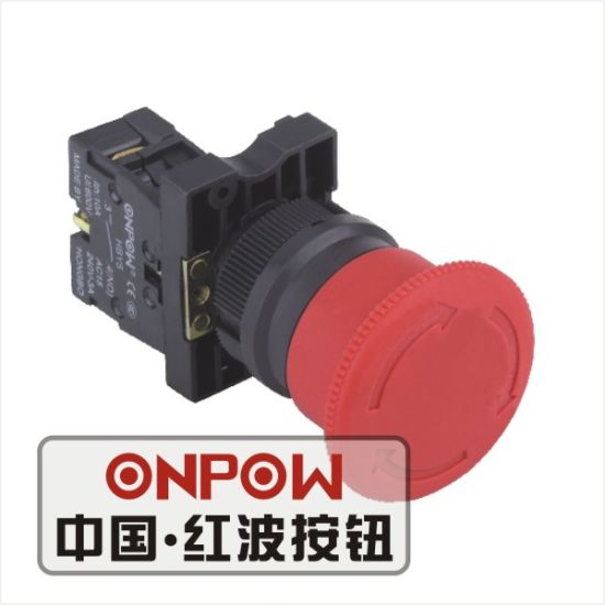 Onpow 22mm Emergency Pushbutton Switch (Economical Type) (HBY5E-11TS/R, CE, CCC, CB, RoHS)