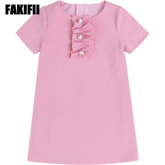 Factory Custom Wholesale Baby Wear Children Clothing Spring Girl Elegant Pink Dress with Pearls Latest Autumn Apparel