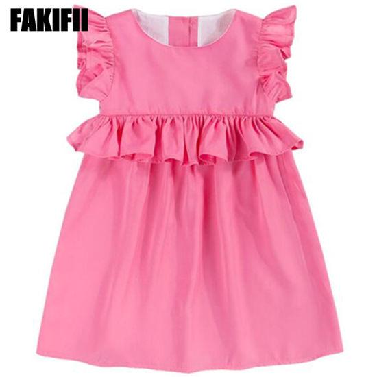 96fc275886b2 OEM  ODM Factory Kids Wear Children Apparel Summer Girl Cotton Pink Ruffle  Dress Wholesale Clothes