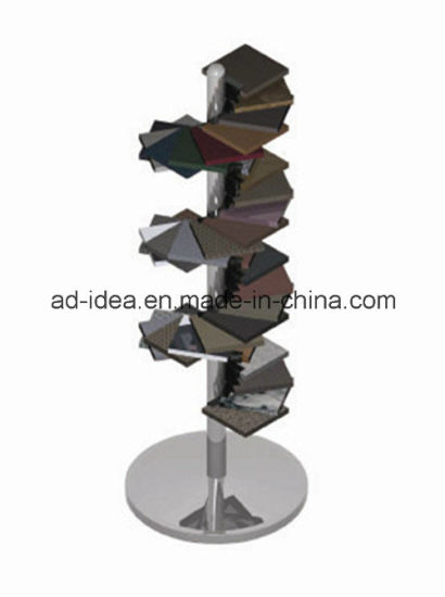 Unique Helical Shape Metal Quarts Floor-Standing Ceramic Tile Display for Tile Display/Stone/Ceramic Tile