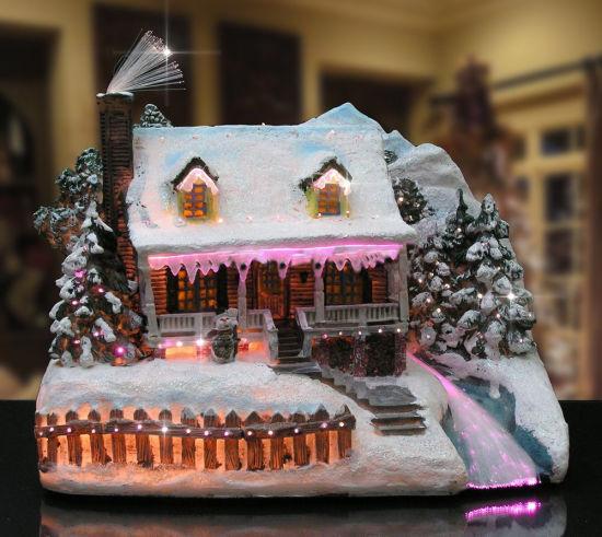christmas snow village fiber optic lit house christmas decoration
