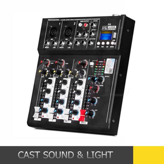 Mini Portable 4 Channel Audio DJ Mixer with Bluetooth MP3