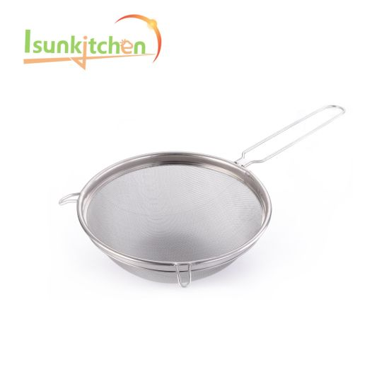 "12""Factory Cheap Price 201 Stainless Steel Mesh Strainer for Kitchen"