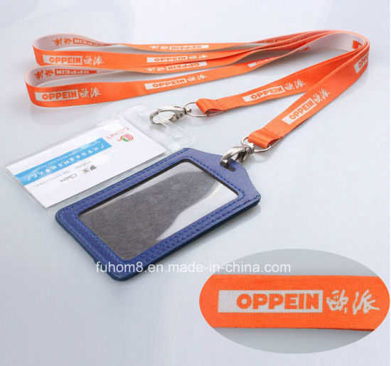 Custom Neck Strap Promotion Printed Woven Lanyard with ID Card Holder