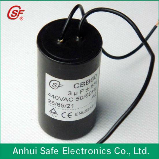 China Cbb60 Motor 35UF 450VAC 2 Wire Capacitor - China AC Motor Run  Capacitor, Electrolytic CapacitorsAnhui Safe Electronics Co., Ltd.