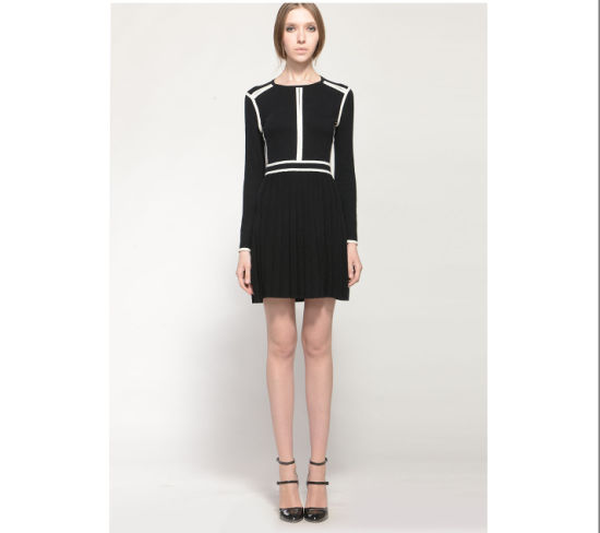 China Contrast Color Long Sleelves Round Neck Pleated Black Jersey
