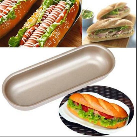 Hot Dog Bun Pan Hotdog Bread Mould Non Stick Bakeware Oval Cake Mold