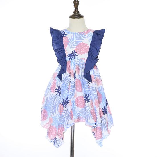 Pineapple Print Ruffle Baby Girl Summer Dress Children Frocks Designs