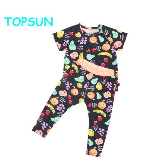 Kids 100% Cotton Round Neck T Shirt Toddlers Fruits Printed Pajama Set
