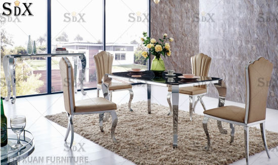 Modern Home Furniture High Gloss Glass Stainless Steel Dining Room Furniture Table Set