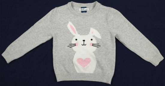 Kids Round Neck Pullover with Little Rabbit pictures & photos