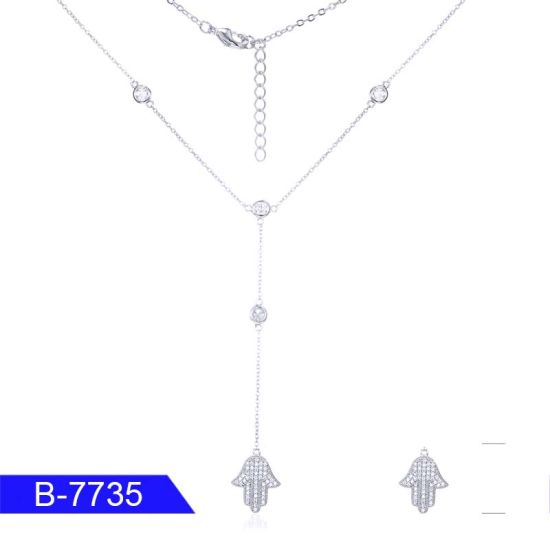 Fashion Jewelry 925 Sterling Silver CZ Stone Necklace