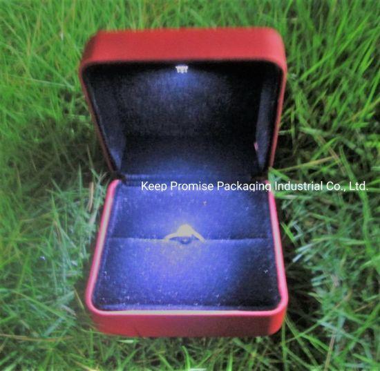 Luxury Red PU LED Light Bracelet Earring Pendant Necklace Ring Jewelry Box