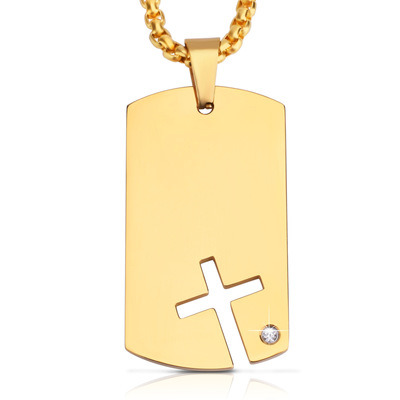 Euramerican Wind Men′s Necklace Titanium Steel Stainless Steel Military Brand Set Zircon Cross Dog Brand Pendant Wholesale pictures & photos