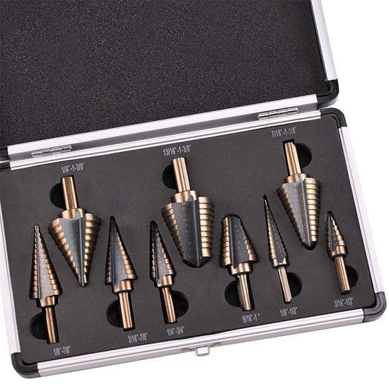 9PCS HSS COBALT MULTIPLE HOLE STEP DRILL BIT SET Plus one Aluminum Case