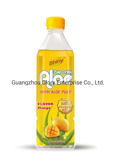 500ml Shiny Brand Aloe Vera Drink Mango Flavor with 5% Aloe Pulp and 30% Juice