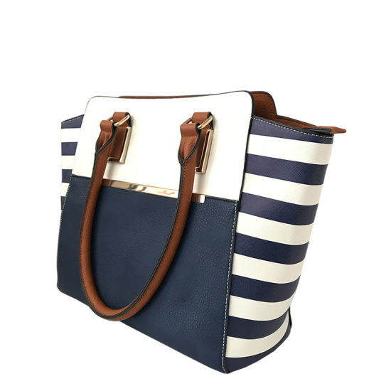 LC-030 Latest Women Contrast Color Artificial Leather Shoulder Bag Striped White&Black Large Business Casual Tote Handbag pictures & photos