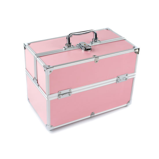 ABS Aluminum Makeup Train Box Cosmetic Vanity Case with 6 Plastic Trays pictures & photos