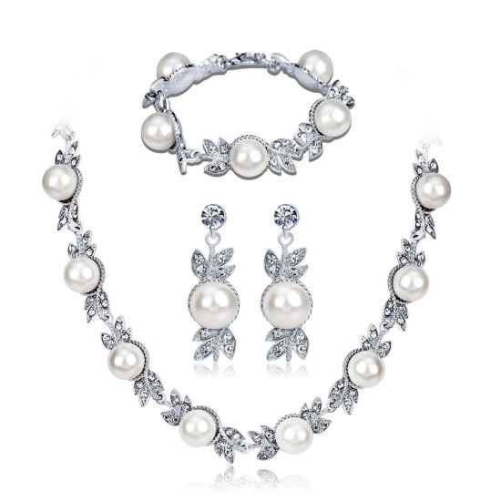 2018 New Arrival Wedding Pearl Jewelry Set Necklace Earrings Bracelet For Bridal