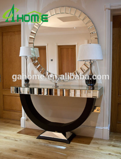 Living Room Mirrored Furniture Console Table With Wall Mirror