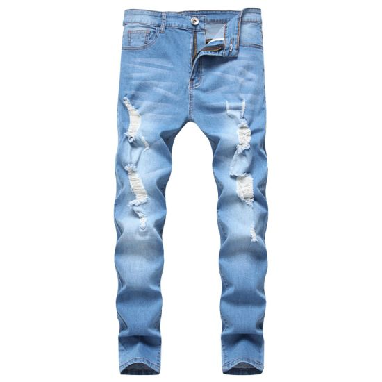 Men's Ripped Casual Skinny Stretch Tide Blue Denim Straight Jeans with Holes