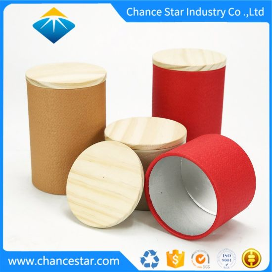 Custom Round Paper Cardboard Tube Box with Wooden Lid
