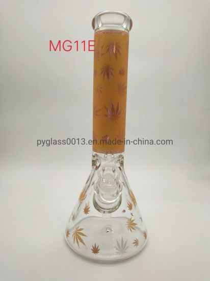 Factory Directly Supply Glass Water Pipes with Leaf Decals