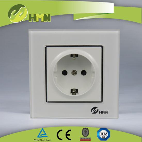 TUV, CE certified EU standard white tempering glass schuko socket