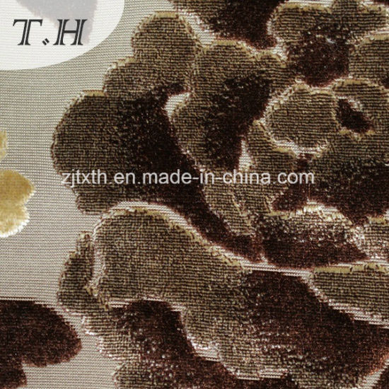 100% Polyester Knitted Fabric Cut Velvet Fabric pictures & photos
