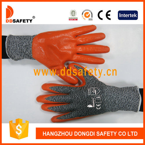 Ddsafety 13G Hppe with Spandex or Nylon Gloves Mixed Orange Nitrile Smooth Coated on Palm