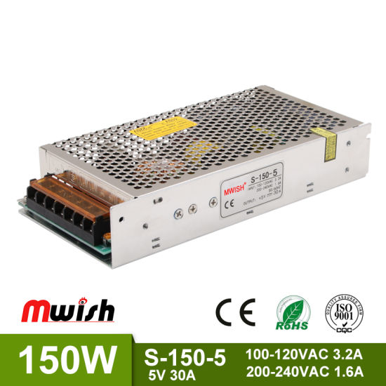 Ce RoHS Approved High Current Switch Power Supply 150W 5V 30A S-150-5