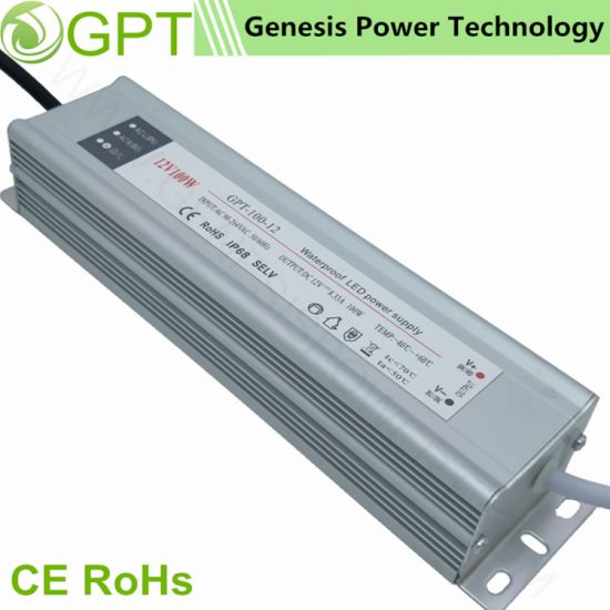 100W 12V Switching Mode Waterproof Outdoor IP68, Single Output LED Light Power Supply Outdoor Constant Voltage with Ce RoHS