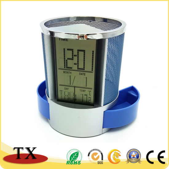 Office Supply Eco-Friendly Stationery Multifunctional Electronic Calendar Pen Holder pictures & photos