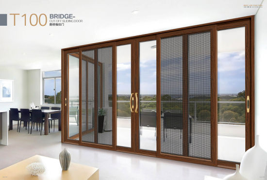 Wooden Color Aluminum Profile Windows and Glass Sliding Doors with ISO SGS Authentication
